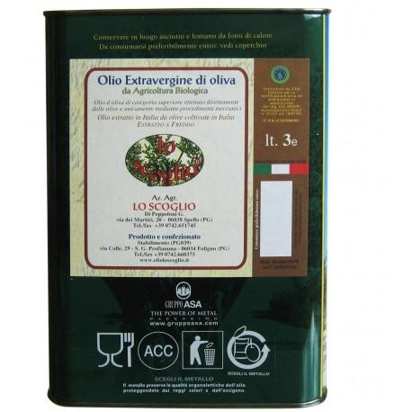 Olio Extravergine di Oliva Biologico - 3 litri